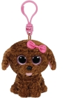 TY MADDIE BROWN DOG W/BOW CLIP